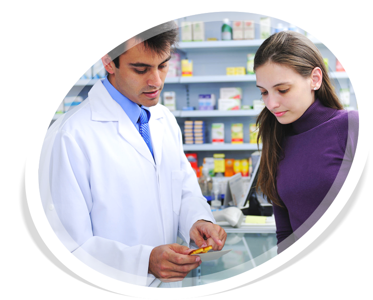 Pharmacist advising client at pharmacy how to take medicine