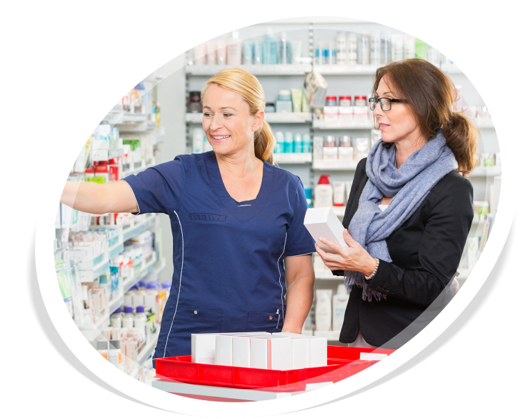 Smiling female pharmacist removing medicine for customer